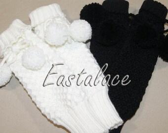 Legwarmers knit child with pom pom Kids Accessories Children clothing  Hand Knitting Legwarmers