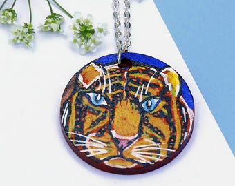 Tiger Necklace, Hand Painted Jewellery, Painted Jewelry, Tiger Jewelry, Animal Necklace, Statement Necklace, Tiger Present, Unique Necklace