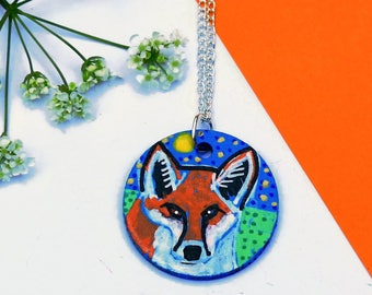 Fox Necklace, Quirky Jewellery, Red Fox Art, Woodland Animal Jewellery, Hand Painted Necklace, Original Handmade Jewellery, Fox Gift