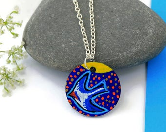 Swooping Bird Necklace Pendant, Swallow Bird Jewellery, Hand Painted Jewelry, Wood Jewellery, Bird Lovers Gift, Birthday Gift, Gift For Her