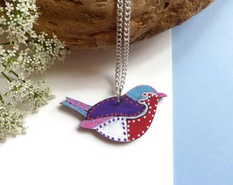 Bird Necklace - Painted Jewelry - Small Bird Necklace - Birthday Gift - Bird Pendant - Bird Lover Gift - Animal Necklace - Original Jewelry