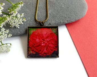 Rose Pendant - Flower Necklace - Unique Necklace - Handmade Jewelry - Nature Jewelry - Gift For Mom - Romantic Gift - Botanical Jewelry
