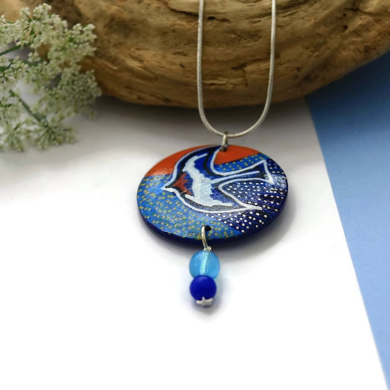 Swallow necklace original painting handmade jewelry on silver snake chain