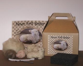 Sheep Needle Felting Kit.  Great Kit for Beginners.