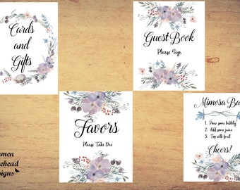 Bridal Sign set, Purple flowers, Bridal Shower signs, Mimosa Bar sign, cards and gifts sign, Guest book sign, Autumn wedding