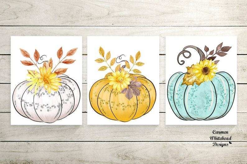 3 watercolor pumpkins prints Autumn decor Instant Download image 0