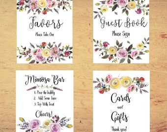 Bridal Sign set, Floral Bridal Shower, Bridal Shower signs, Mimosa Bar sign, cards and gifts sign, Guest book sign, Autumn wedding