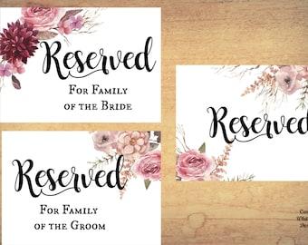 Reserved Sign set, ceremony aisle sign, wedding ceremony sign, reserved printable, reserved row sign, reserved seat sign, reserved seating