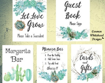 Bridal Sign set, Succulents, Bridal Shower signs, Mimosa Bar sign, cards and gifts sign, Guest book sign, Succulent style wedding