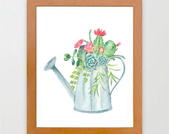 Watercolor succulents, Succulents in pitcher, Instant download, watercolor print, kitchen wall art, plant room wall art
