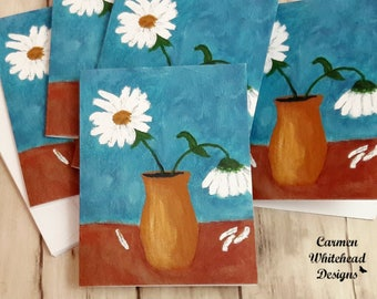 Blank note cards, all occasion cards, Daisies in Yellow Vase, 5 pack of cards, blank note cards, greeting cards, blank inside