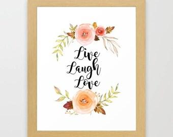 Live Laugh Love, watercolor art print, home decor, Instant download, digital download, teen girl room decor, teen wall art