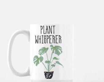 Plant Whisperer Mug, tea mug, plant lover coffee mug, Monstera Deliciosa mug, Snake plant mug