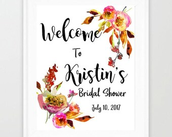 Bridal Shower, Welcome Sign, Bridal Shower Sign, Floral Bridal Shower Welcome, Baby Shower Welcome Sign, Floral Bridal Shower Welcome Sign