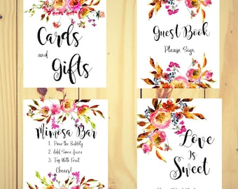 Bridal Shower signs, Bridal Sign set, Floral Bridal Shower, Mimosa Bar sign, cards and gifts sign, Guest book sign, Autumn wedding
