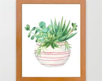 watercolor cactus, watercolor print, potted cactus print, instant download, home decor print, digital print