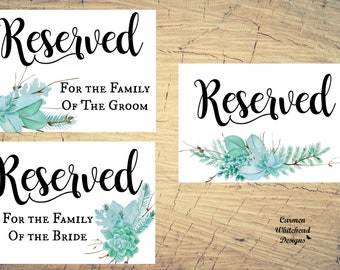 Succulents Reserved Sign set, ceremony aisle sign, wedding ceremony sign, reserved printable, reserved row sign, reserved seat sign