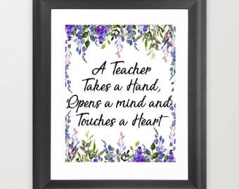 gift for teacher, Teacher printable, teacher sign, Teacher appreciation, Instant download, classroom decor, teacher takes a hand