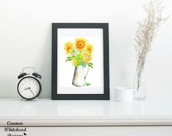 Sunflower watercolor, fall decor, Instant Download, watercolor art print, printable art, digital download, digital print, Thanksgiving decor