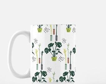 Monstera Deliciosa coffee Mug, tea mug, plant lover coffee mug, watercolor plants, pattern plants on mug, lucky bamboo coffee mug