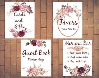 Bridal Shower signs, Bridal Sign set, Floral Bridal Shower, Mimosa Bar sign, cards and gifts sign, Guest book sign, Burgundy wedding