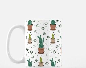 Potted Cacti coffee Mug, tea mug, cactus lover coffee mug, watercolor plants, pattern plants on mug