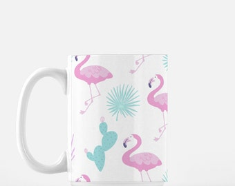 Pink Flamingo coffee Mug, tea mug, cactus lover coffee mug, watercolor plants, pattern plants on mug, retro mug
