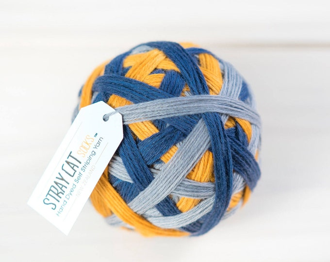DENIM & DANDELIONS - vibrant hand dyed self striping sock yarn