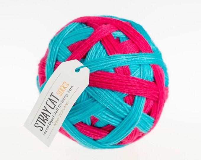 SEUSS JUICE - vibrant hand dyed self striping sock yarn