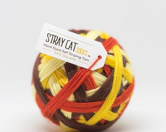 70's FORMICA - vibrant hand dyed self striping sock yarn