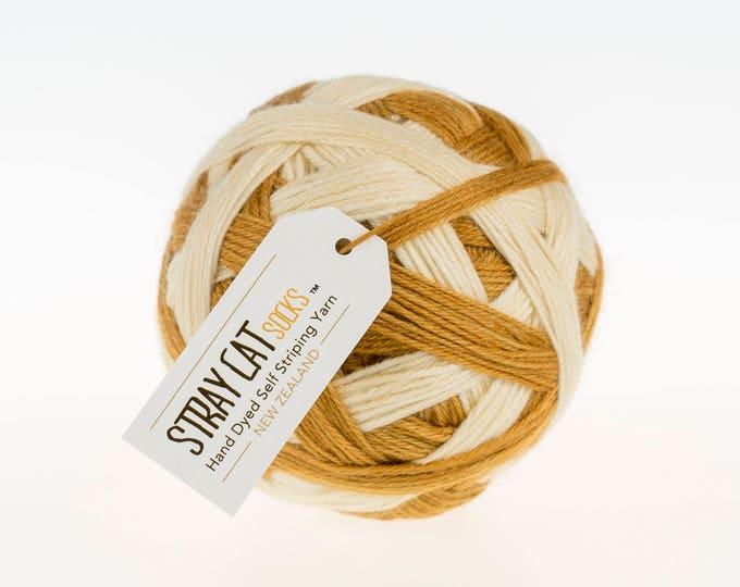 CINNAMON LIGHT - vibrant hand dyed self striping sock yarn