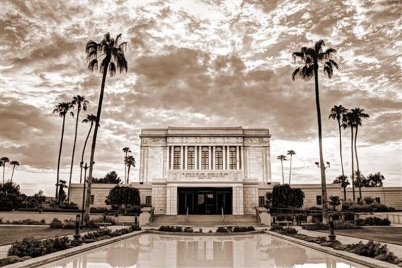 Mesa Temple Mormon Art LDS Sepia Photo Photography Digital image 0