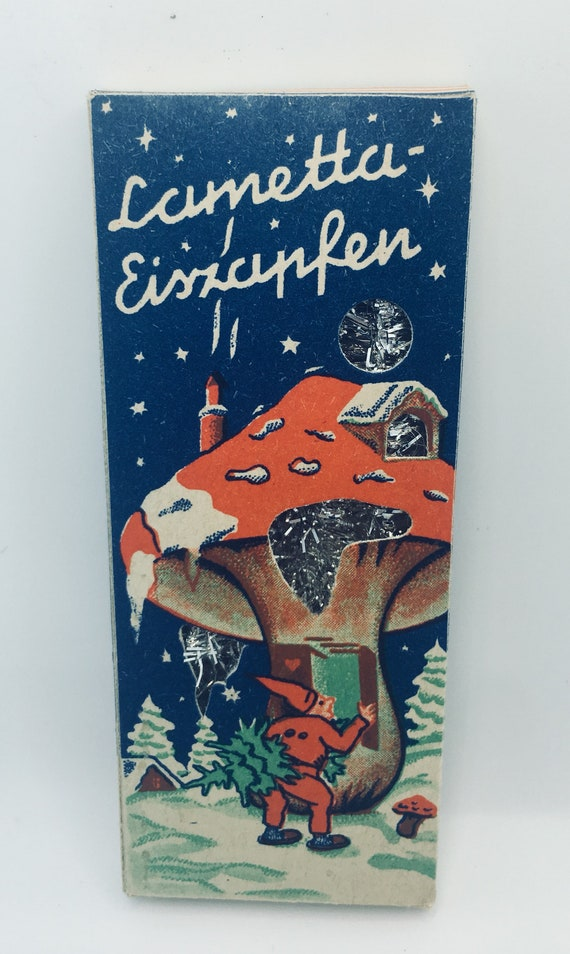 Vintage NOS German Lametta box with Christmas tinsel lametta