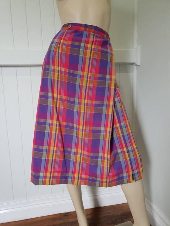 Vintage plaid rainbow skirt and blouse set - image 7
