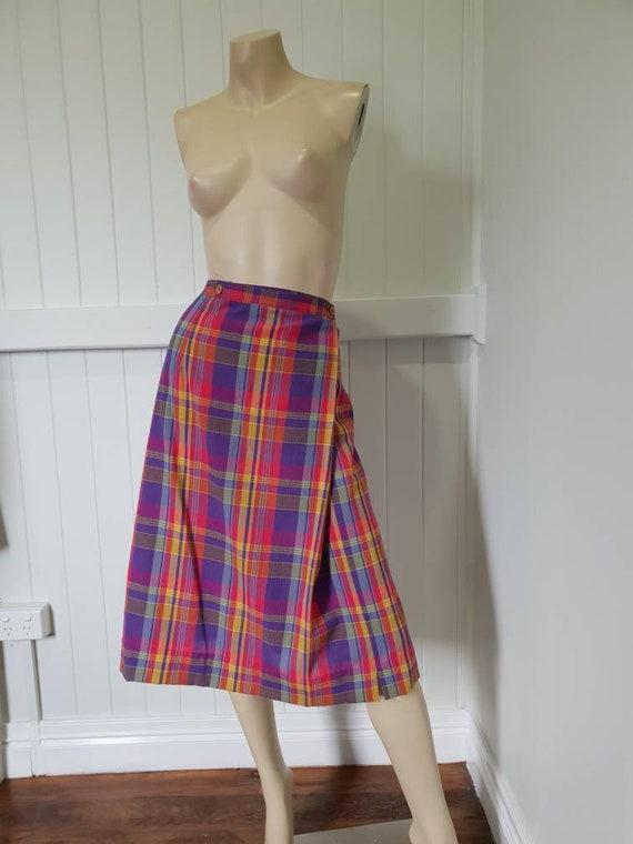 Vintage plaid rainbow skirt and blouse set - image 6