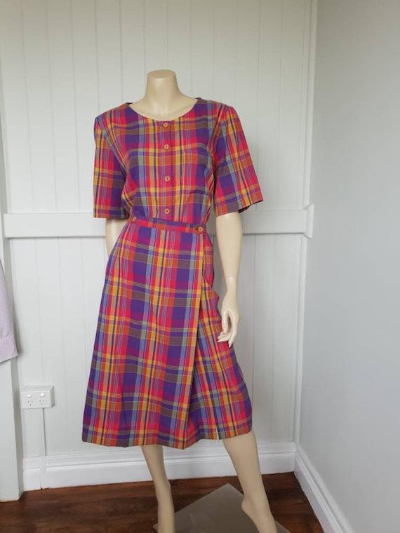 Vintage plaid rainbow skirt and blouse set - image 2