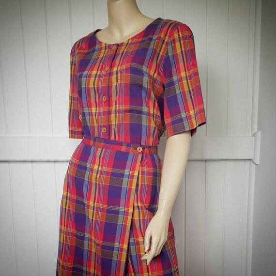 Vintage plaid rainbow skirt and blouse set