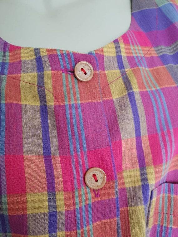 Vintage plaid rainbow skirt and blouse set - image 5