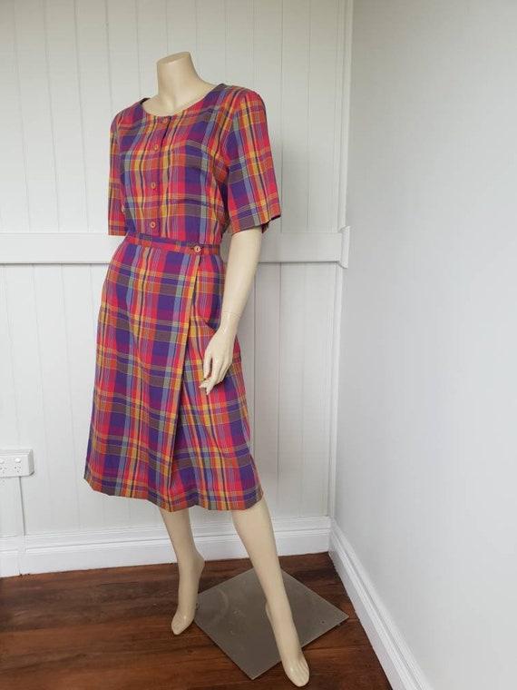 Vintage plaid rainbow skirt and blouse set - image 3