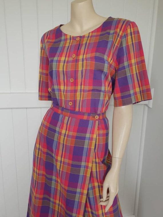 Vintage plaid rainbow skirt and blouse set - image 4