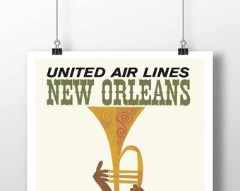 New Orleans Vintage Travel Poster Reproduction - 11X17 - Wall Art Print - Poster Print - Travel Poster - Travel Art - New Orleans Poster