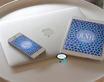 Blue Mosaic Monogrammed iPad and iPhone Wallpaper - Screensaver - Variations of Blue - Personalized Wallpaper - Custom Wallpaper