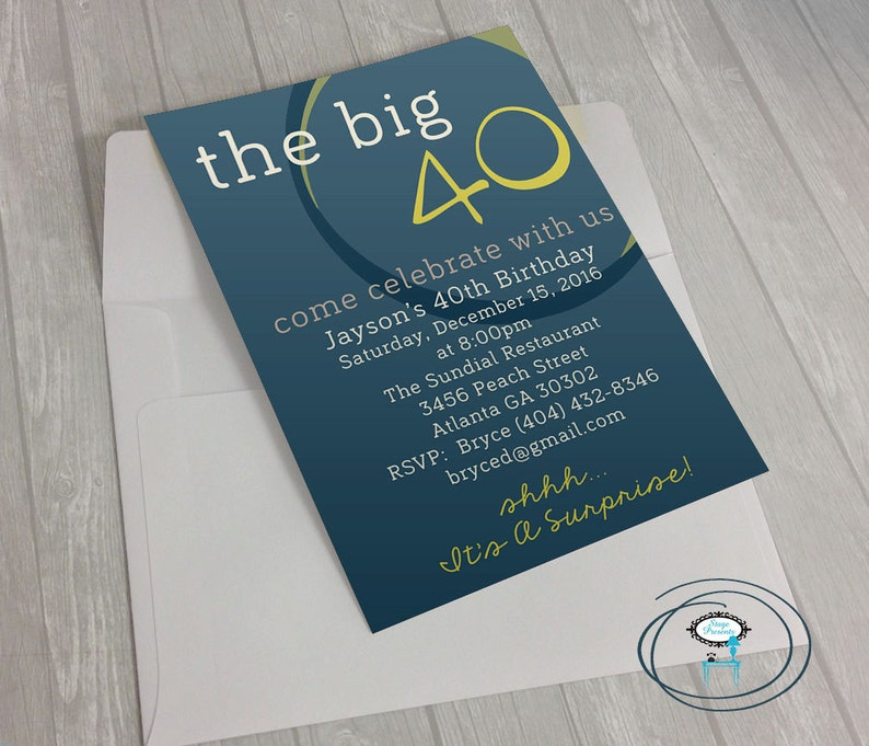 The Big 40 Birthday Party Invitation 5x7 Diy Print At Home Birthday Invitation