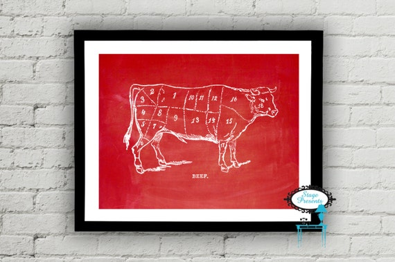 Vintage Beef Butcher Diagram 8x10 Meat Chart Diy Wall Etsy