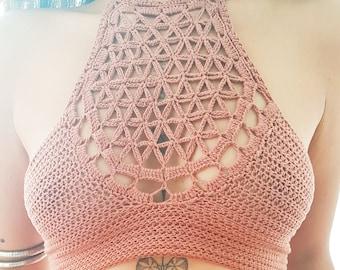 151972623b917 Crochet halter top PATTERN Crochet bralette written pattern Crochet flower  of life halter top Crochet top for big breast woman