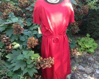 1950s Red Wiggle Dress / Dress Nelson-Caine New York Original Tag NOS / Vintage Dress