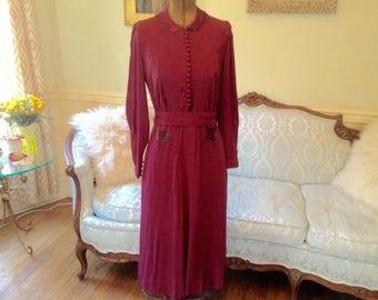 1940s Dress / 1940s Beaded Sculptural Dress / Vintage Dress