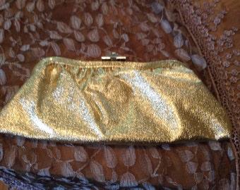 1960s Purse Evening Bag / Gold Lamae Clutch Evening Bag / Vintage Gold Purse
