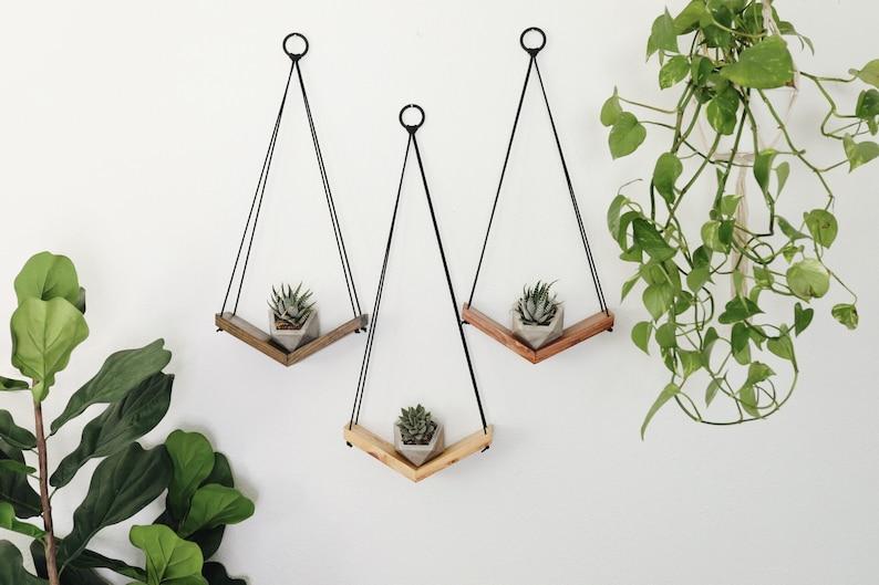 3 Teardrop V Shelves with 3 Geometric Pots  Teardrop Shelves image 0