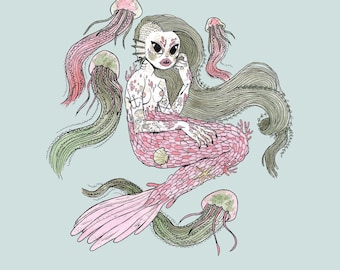 Mermaid and Jellies • Print